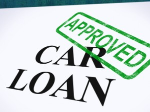 Car Loan Approved Stamp Showing Auto Finance Agreed